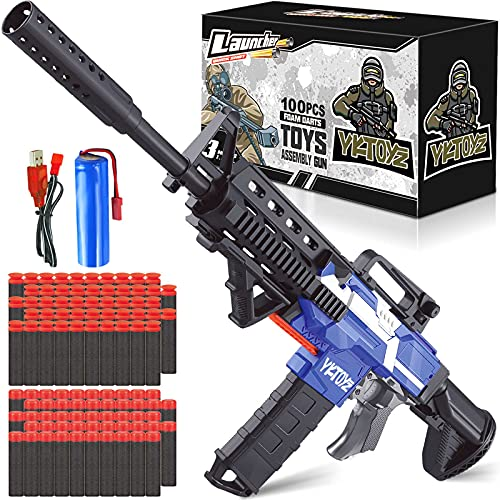 Electric Automatic Blaster Toy Guns Compatible with Nerf Guns Bullets, 3 Modes Burst Soft Bullets Toy Gun with Magazine and 100 Refill Darts for Boys Girls 5 6 7 8 9 10 Years Old Adults (Blue)