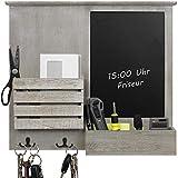 Organisateur mural 52,5x6x46,5cm avec tableau noir, étagères et crochets métalliques, étagère murale, panneau mural