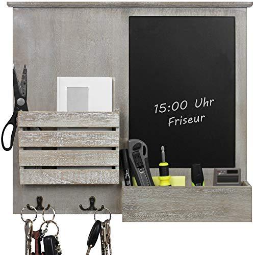 Organizer da parete 52,5x6x46,5cm con lavagna, mensole e ganci in metallo, mensola, lavagna