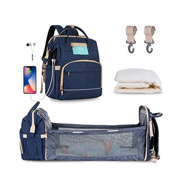Diaper Bag Backpack with Extendable Folding Crib,HOMITY Baby Bag With Changing...