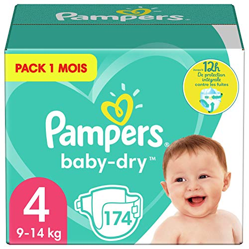 Pampers Couches Baby-Dry Taille 4 (9-14kg) Jusqu'à 12h Bien Au Sec et Avec Double-Barrière Anti-Fuites, 174 Couches (Pack 1 Mois)