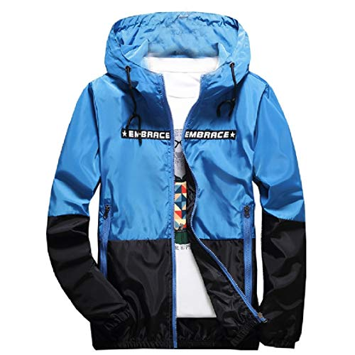 DressUMen Herren plus size kapuze mit zips buchstabieren farben-beiläufigen gedruckten overcoat S Blau