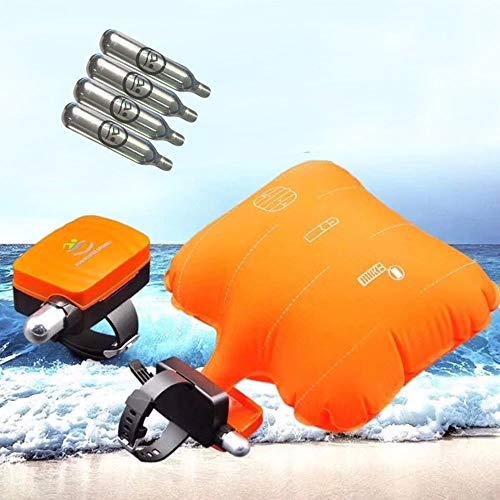 Pulsera flotante BT antiamanecer, dispositivo de seguridad para natación, chaleco salvavidas para ayuda al agua, dispositivo de ayuda a la flotabilidad de agua, bolsa de gas inflable con 4 cartuchos