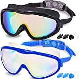 Braylin Adult Swim Goggles, Pack of 2 No Leaking Swimming Goggles Anti-Fog UV Protection, Wide Vision Swim Glasses with Nose Clips Ear Plugs for Men Women Youth, Over 15