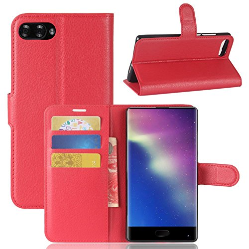 Tasche für Doogee MIX Hülle, Ycloud PU Kunstleder Ledertasche Flip Cover Wallet Hülle Handyhülle mit Stand Function Credit Card Slots Bookstyle Purse Design rote