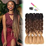 24' Premium Kanekalon Braiding Hair Extensions, 5 Pack Ombre Braiding Hair, Jumbo Xpressions Braiding Hair (Black-Dark Brown-Light Brown)