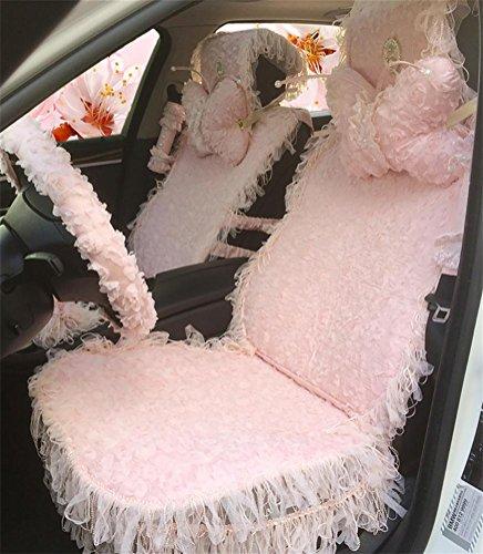 DIELIAN Auto Sitzbezug Sitzbezüge Schonbezüge Universal Komplettset mit Lace und Spitze Frauen spezielle Hals Kissen Auto Autozubehör, pink