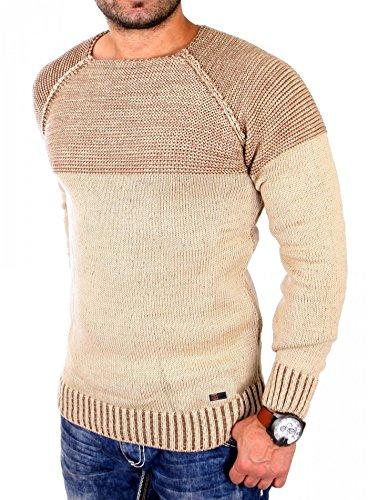 Reslad Strickpullover Herren Two Tone Rundhals Pullover Grobstrick RS-16081 Camel M