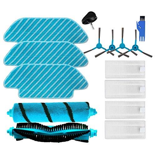 SODIAL Filtro HEPA per Robot Aspirapolvere Cecotec Conga 4090 5090 Spazzola Un Rullo Principale Spazzole Laterali Mop Kit Stracci di Stoffa
