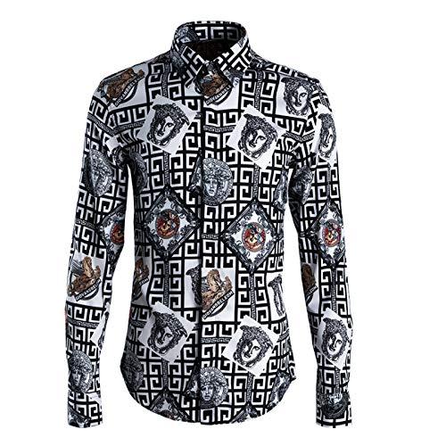 New Maze Head Camisa de Hombre Slim Ropa de Hombre