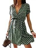 Elegante Vestido de Verano para Mujer Informal de Lunares con Manga Corta de Cintura Alta A-Line con Cordones (Verde, L)