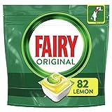 Fairy Original Todo in Uno Limón Cápsulas para lavavajillas, 82 Cápsulas Eficaces también sobre la grasa cruzada