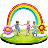 Inflatable Rainbow Sprinkler, More Stable 95'' Summer Outdoor Sprinkler Water Toys for Kids, Large Outdoor Yard Inflatable Rainbow Arch with Detachable Inflatable Flower and Sun Frisbees Toys