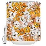 N / A Flower Petal Bee Tenda da doccia in Tessuto acquerello Set di arredo bagno Bianco Giallo con ganci Stall