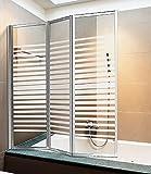 Mampara de bañera/ducha, de cristal, serigrafiada, 140(alto) x 130