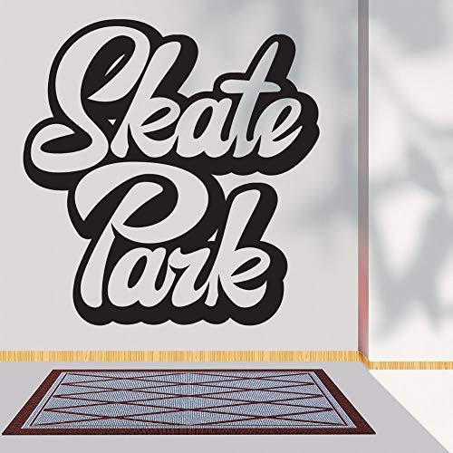 wZUN Skateboard Park Font Texto Contorno Silueta Arte de la Pared Skateboarding calcomanías Deportivas para la decoración del hogar 57X59cm
