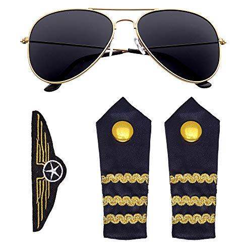 Widmann 00085 - Piloten Set 3-teilig, Sonnenbrille, Schulterklappen, Abzeichen, Pilot, Stewardess, Flugbegleiter, Karneval, Motto Party