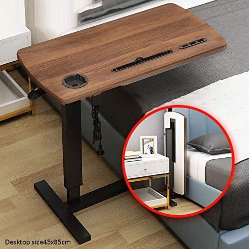 Stahlrohr Gaming Tisch Höhenverstellbar mit Dunkle Eichenplatte,Faltbar, USB,Design Beistelltisch Zum Lesen Im Bett