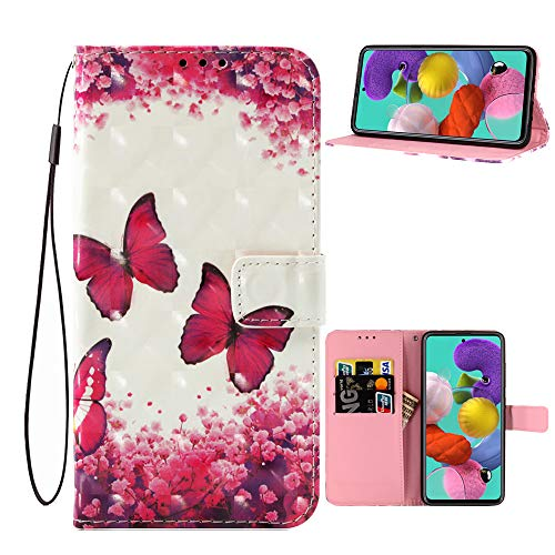 Anffy for Samsung Galaxy A51 Case Wallet,[3D Butterfly Style] Premium PU Leather Flip Phone Case Cover with Card Holder,Magnet Clasp and Kickstand for Samsung Galaxy A51 2020 Release (Butterfly-2)
