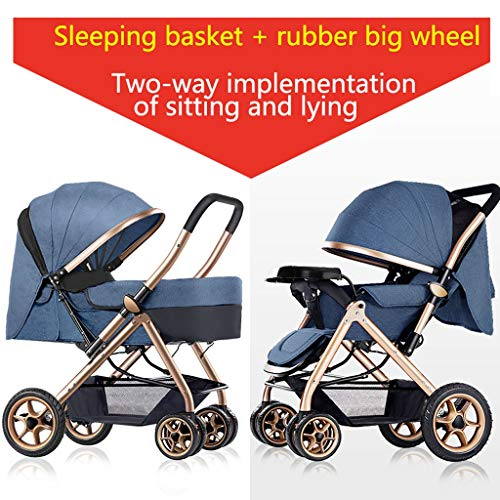 Best Price Baby Stroller can sit Reclining Light Stroller Folding Two-Way Stroller Child Baby Four S...