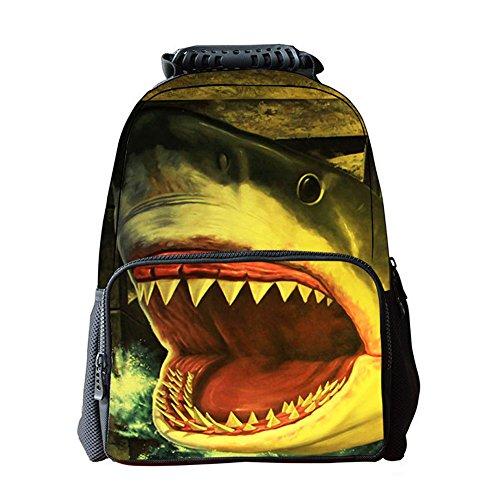 Yimidear Zaino 3D Animals Stampa Daypack Scuola bag Per Scuola Camping Viaggi Escursionismo (Squalo)