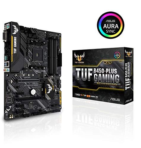 Asus TUF B450-Plus Gaming Mainboard Sockel AM4 (ATX, AMD B450, DDR4-Speicher, M.2, natives USB 3.1 Gen2, Aura Sync)