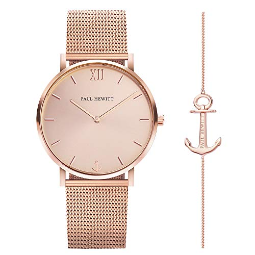 PAUL HEWITT Damen Set Perfect Match Uhr Rose Sunray in IP Roségold...