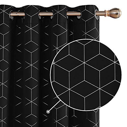 Deconovo Verdunkelungsvorhänge mit Ösen, Blickdichte Gardinen, Moderne Vorhang für Wohnzimmer, 175x140 cm(HöhexBreite),Schwarz, 2er Set