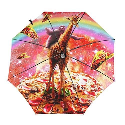 Sloth Giraffe Unicorn Pizza Taco Windproof Automatic Folding Umbrella Tri-fold Umbrella