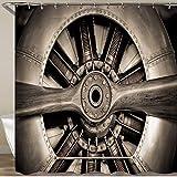 COFEIYISI Neueste Duschvorhänge Sepia getönten Vintage Flugzeugmotor & Propeller Nahaufnahme Wasserdicht Bad Vorhang Waschbar Bad Vorhang Polyester Stoff mit 12 Haken 180x180 cm