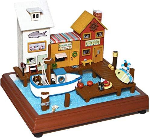 Feeyond Casa De Muñecas De Bricolaje Kit De Modelo De Casa De Muñecas En Miniatura De Madera con LED Y Muebles Kit De Construcción De Casas Hecho A Mano Regalo De Cumpleaños De Navidad