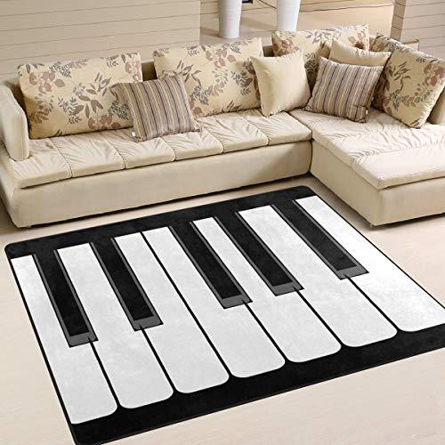 Tapijt 80 x 58 inch voor piano met staart zwart wit voor woonkamer slaapkamer 63x48 Inch Image 3445