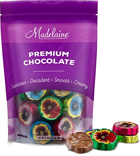 Madelaine Solid Premium Milk Chocolate Pansy Flowers Wrapped In Assorted Colors Of Italian Foil (1/2 LB)