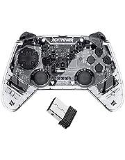 ECHTPower - Controller wireless Bluetooth per PS3, con doppio shock, 6 ceneri giroscopio e batteria ricaricabile, senza fili, gamepad joystick per Playstation 3 PC Windows10 trasparente