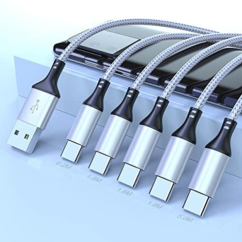 3A Cargador USB Tipo C Cable, Rocketek [5Pack 0.2/1.8/1.8/1.8/5 M] Nylon Movil Cables Trenzado Cable USB C Carga Rápida y Sincronización de Datos para Samsung Galaxy S10 S9 S8, Huawei P30 P20 P10