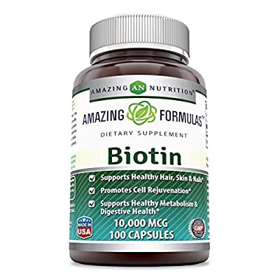 Amazing Formulas Biotin Supplement - 10000 mcg - 200 Capsules (Non-GMO, Gluten Free) - Supports Healthy Hair, Skin & Nails - Promotes Cell Rejuvenation