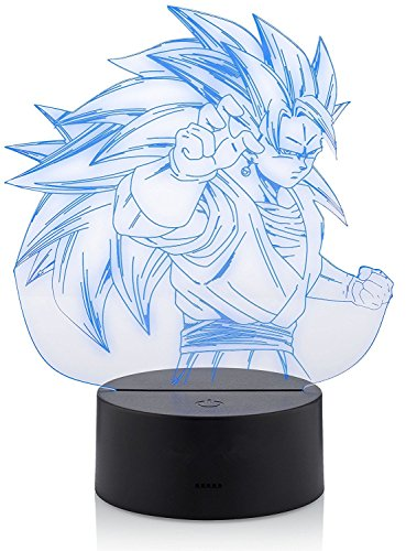 Regalo 3D Dragon Ball Z Lámpara, 7 colores Illusion SSJ3 Vegito Vegeta y Goku Potara Fusion Night Light Gran regalo decoración del hogar
