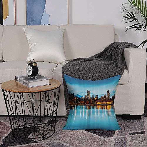 Microfiber cushion cover 50x50 cm,Urban,Downtown Denver Ferril Lake Colorado at The Morning City Park Capi,Sofa Waist Chair Home Office Bar Car Decor Decorative Throw Pillowcase Protectors With Zipper