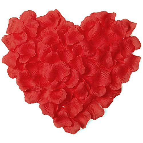 Amaoma Petalos de Rosa Artificiales Rojos Petalos de Rosa para Bodas 3000 Piezas Confeti Boda Decoración Accesorios para Bodas Fiesta Cumpleaños San Valentín Evento Romántico