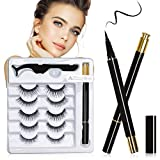 Magnetic Eyelashes with Eyeliner Kit,Upgraded 3D Reusable Magic lashes Set With Tweezers Inside,No Glue Needed No Magnet particles