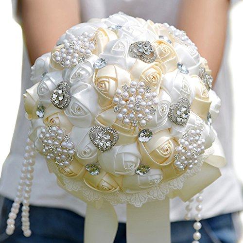 Quibine Romantique Bouquet de Mariée Strass Perle Chaîne Mariage Bouquet