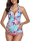 Summer Mae Costumi da Bagno Premaman maternità Tankini Imbottite da Donna Blu XX-Large