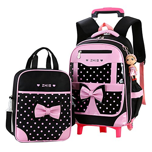 Fanci 2Pcs Cute Bowknot Kids Rolling School Backpack Polka Dot Trolley Carry on Luggage With Two Wheels