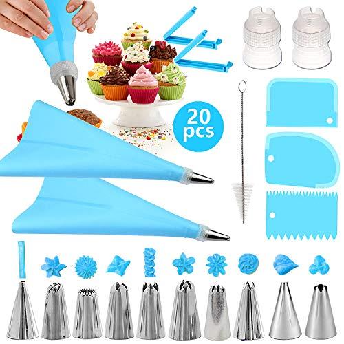 Decoración de Pasteles, Boquilla de Acero Inoxidable, Kit de Pasteles Decoración, Bolsas de Pastelería, Raspador de Pasteles, Adaptador, Clip de Plástico, Cepillo de Limpieza (Azul)