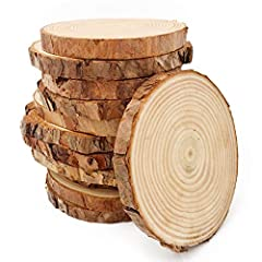 Diameter: approx 3.5-4inch(9-10cm);Thickness: approx 0.4inch(1cm) Package contains 12 pcs pine tree discs Ideal for DIY hand painting, coasters, backdrop decorations, photo props, wedding decorations, etc Material:unpainted natural round blank pine w...