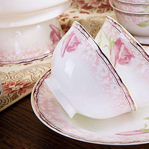 YUWANW Production de Porcelaine à Haut de Gamme Home Assiette Tête Porcelaine Anglaise Vaisselle Vaisselle en céramique 28/56 Ensemble de Couverts Cadeaux de Mariage, 58, avec Swan Panier