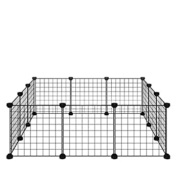 Allisandro Small Pet Playpen Small Animal Cage for Indoor Outdoor Use Portable Metal Wire Yard Fence for Small Animal Puppy Kitten Guinea Pigs Bunny Turtle Hamster  11.8x11.8