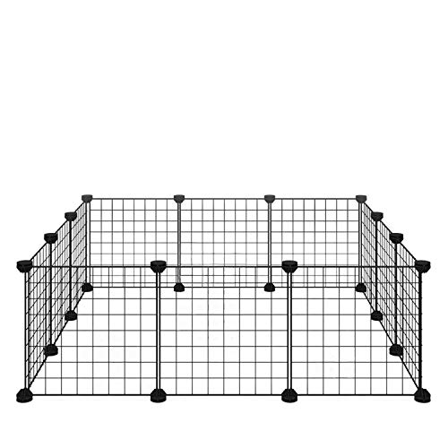 ALLISANDRO Small Pet Playpen, Small Animal Cage for Indoor Outdoor Use, Portable Metal Wire Yard Fence for Small Animal, Puppy, Kitten, Guinea Pigs, Bunny, Turtle, Hamster, 12 Panels, 13.8x13.8 Inches