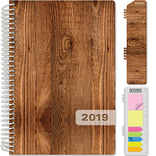 "HARDCOVER Calendar Year 2020 Planner: (November 2019 Through December 2020) 5.5""x8"" Daily Weekly Monthly Planner Yearly Agenda. Bonus Bookmark, Pocket Folder and Sticky Note Set (Woodgrain)"