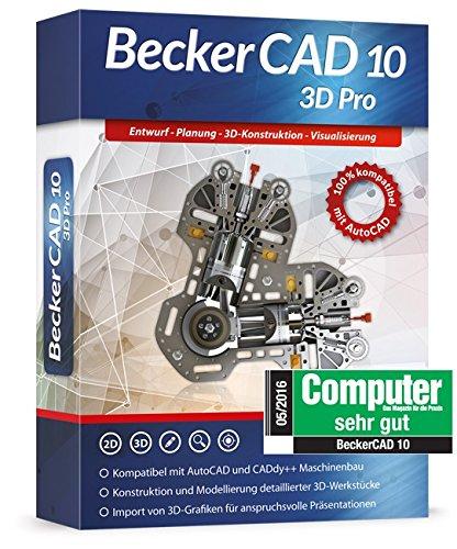 Becker CAD 10 3D Pro für Windows 10-8-7-Vista-XP | CAD-Software für Architektur, Maschinenbau und Elektrotechnik | 3D Zeichenprogramm kompatibel mit AutoCAD